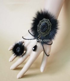 Gothic Black Fox Fur Halloween Bracelet & Ring