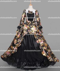 18th Century Period Dress Gothic Black Marie Antoinette Victorian Dress Prom/Wedding Dress Ball Gown