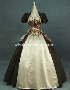 Victorian Army Green and Beige Royal Princess Corset Bustle Ball Gown Prom Dress Theatre Clothing