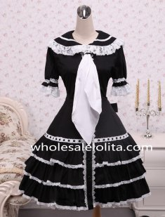 Black Cotton Doll Collar White Lace Trim and Tie Sweet Lolita Dress