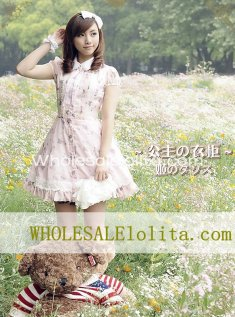 High-end Elegant Princess Chiffon Printing Pink OP Lolita Dress