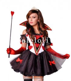 2014 Hot Disney Alice in Wonderland Queen of Hearts Halloween Costume Dress