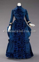 19th Century Victorian Dress - 1885 French Silk Victorian Late Bustle Afteroon Dress