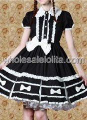 Top Seller Black Sweet Lolita Dress with White Bows