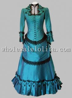 Retro Blue-Green Satin Black Lace Victorian Bustle Period Dress Reenactment Clothing Stage Wear
