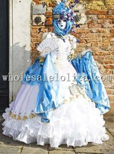 Deluxe White Victorian Ball Gown Female Venice Carnival Costume