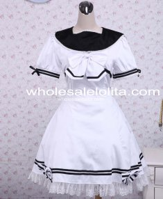 Cotton White Lace Bow School Loltia Dress Sailor Lolita Dress
