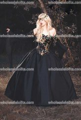 Top Sale! In Stock Gothic Medieval Masquerade Halloween Gown Dragon Brocade Corset Black with Chiffon