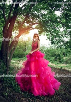 Fashion Rose A-Line Floor Length Party Dress Sweet Train Long Prom Dress