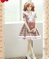Vintage Brown Checked British School Uiform Sailor Lolita
