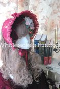 Snow White Victorian Era Bonnet Lolta Headdress Burgundy/Blue 2 Colors