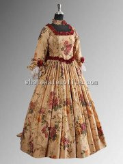 French Sacque Back Jacquard Renaissance Victorian Dress Flower Gown