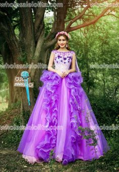 Fashion Purple Stage Performance Costumes Long Prom Dress