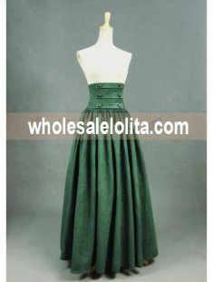Olive Vintage High Waist Long Victorian Skirt
