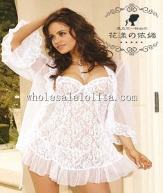 White Bridal Lingerie Lace Babydoll with Long Sleeve Shawl