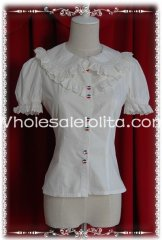 Ladies Beige/White Short Sleeves Cotton Lolita Blouse