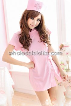 Pink Short Sleeves Stand-up Collar Sexy Nurse Uniform