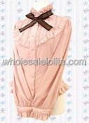 Unique Pink Cotton Lolita Blouse Long Sleeves