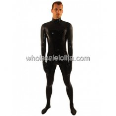 Classic Black Latex Bodysuit for Men