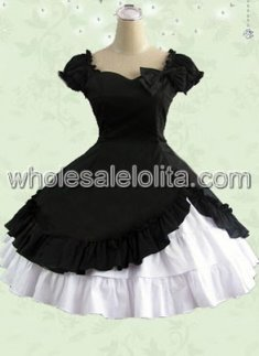 Black Short Sleeves Ruffle Bow Cotton Classic Lolita Dress