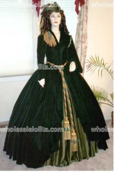 Dark Green Velve Civil War Day/Visiting Dress
