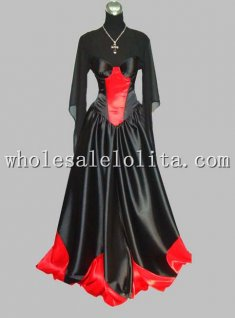 Gothic Black and Red Sleeveless Silk-like Victorian Inspired Dress