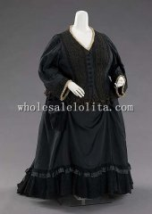 1890s British Culture Silk Queen Victorian Bustle Mourning Dress