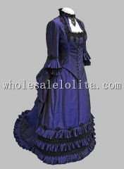 1880s Navy Blue Late Victorian Bustle Period Dress Reenactment Clothing