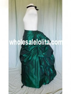 Green Satin Victorian Bustle Skirt