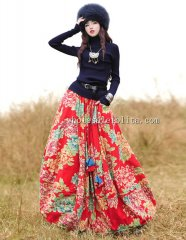 Fashion Red Printing Cotton Elastic Waist Big Hem Skirt