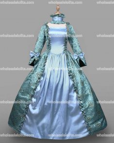 18th Century Period Dress Light Blue Marie Antoinette Gown Reenactment Theater Clothing