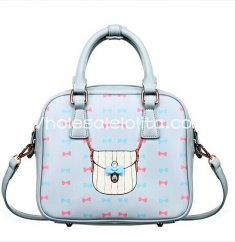 Sweet Bow Print Blue and Pink Ladies Totes Bag Lolita Bag
