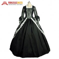 Renaissance Colonial Floral Masquerade Vampire Brocade Lace Dress Gown Theatrical Halloween Costume