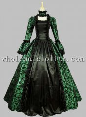 Georgian Victorian Gothic Period Dress Masquerade Ball Gown Reenactment Theatre Costume Green