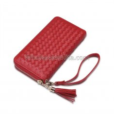 Manka Vesa big capacity ladies long purses high quality patent pu leather women wallets luxury double zipper day clutch Red