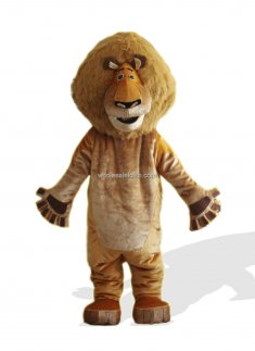 Alex Plush Adult Lion Mascot Costume