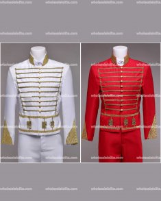 High-end Mens Red/White Baroque Suits Medieval Mens Vintage Costume