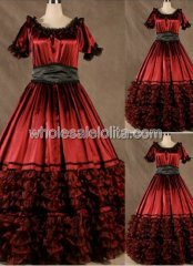 Gothic Dark Red Corset Civil War Southern Belle Gown Halloween Masquerade Ball Dress