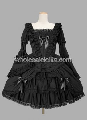 Black Trumpet Long Sleeves Ruffled Cotton Lolita Dress