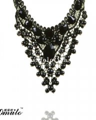 Elegant Black Pendant Necklace with Pearl