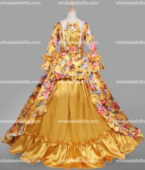 18th Century Rococo Dress Gold Marie Antoinette Victorian Dress Prom/Wedding Dress Ball Gown