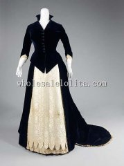 1880s American Culture Long Train Victorian Bustle Evening Dress