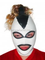 Latex Rubber Costume Hood Mask with Pony Tail White Face