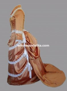 Deluxe Champagne Weddin Dress Satin White Lace Trailing Victorian Bustle Period Dress