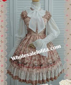 Champagne Emulation Silk-satin Floral Print Sweet Lolita Dress