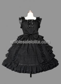 Melting Black Sleeveless Ruffled Cotton Sweet Lolita Dress