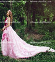 Fashion Pink Printing Organza Performance Prom Dress Train Party Dress