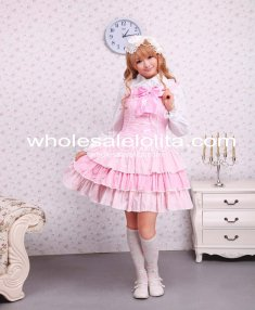 Cute Cotton Pink Lace Front Ties Bow Sweet Lolita Dress