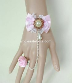 Sweet Pink Bow Rose White Pearl Ladies Bracelet & Ring