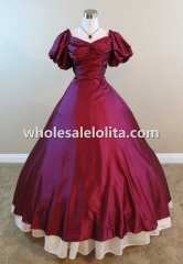 Mid-19th Century Burgundy Satin Civil War Victorian Period Dress Ball Gown Reenactment Dress